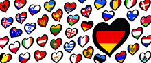 Germamy Eurovision Europe Contest Song 2021 Funny Euro Country Map Heart Flag Logo Symbol Fun Music Festival Icon Songfestival Hearts Countries Europe