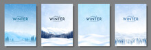 Vector Illustration. Flat Winter Landscape. Snowy Backgrounds. Snowdrifts. Snowfall. Clear Blue Sky. Blizzard. Snowy Weather. Design Elements For Poster, Book Cover, Brochure, Magazine, Flyer, Booklet