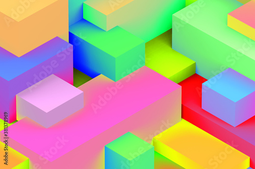 Abstract geometric cubic holographic colorful in neon lights background. isometric 3d render.