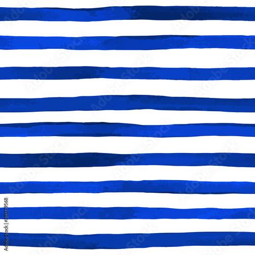Beautiful seamless pattern with horizontal blue watercolor stripes Wallpaper Mural
