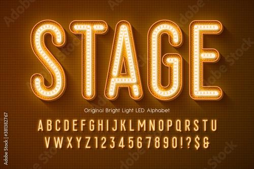 LED light 3d alphabet, extra glowing modern type. Canvas-taulu