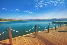 Wooden Pier In The Sea.  Sea Of Galilee, Capernaum, Northern Israel