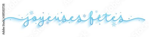 Bannière calligraphique vecteur bleu « JOYEUSES FETES » avec flocons de neige Billede på lærred