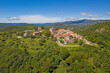 Panoramic aerial drone picture of Hum in Croatia, the smallest city in the world, during daytime