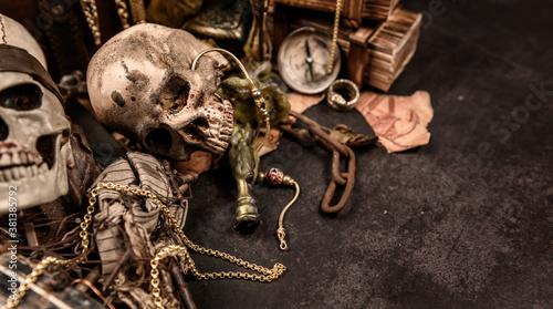 Fotografía Pirate with human skull
