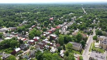 High Aerial View Pulling Away From Shepherdstown, WV On A Summer Day.