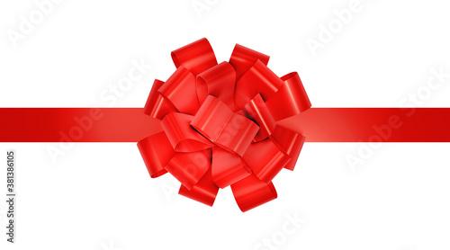 Fototapeta Red ribbon for christmas present. Decorative red gift festive ribbon isolated on white. 3d rendering. obraz
