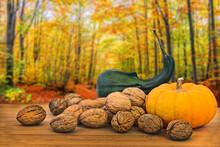 Autumnal Still Life With Pumki...