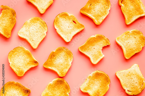 Fotografie, Obraz Pattern of toast bread slices. Layout of food, overhead view