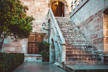A Large Staircase In An Ancien...