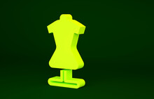 Yellow Mannequin Icon Isolated On Green Background. Tailor Dummy. Minimalism Concept. 3d Illustration 3D Render.