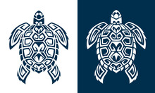 Turtle Logo Graphic Design Concept White And Blue Background. Editable Sea Turtle Element, Can Be Used As Logotype, Icon, Template In Web And Print. Diving Logo.