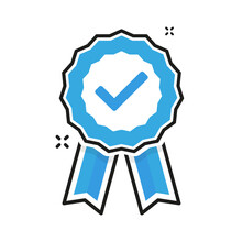 Ribbon With Blue Verification Label On White Background. Vector Illustration.