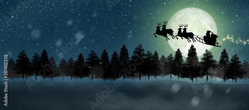 Silhouette of Santa Claus get a move to ride on night sky over the moon light Wallpaper Mural