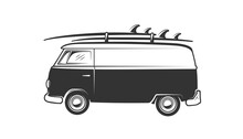 Van With Surfboard Isolated On White Background