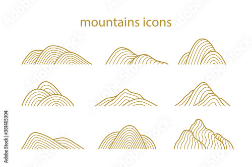 Fototapeta Collection of mountain shapes icons isolated on white background. Line art design. Vector flat illustration.  obraz