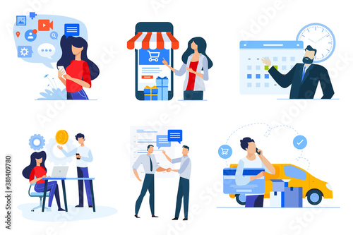 Set of business people concepts. Vector illustrations of m-commerce, social media, project management, events, consulting, shopping.