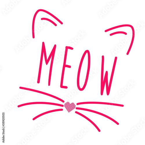 Obraz na płótnie Meow!!! Pink cat on the words