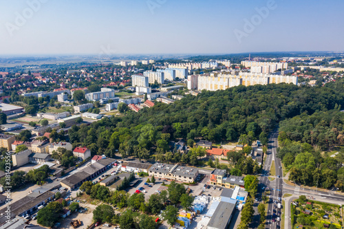 Fototapeta Panorama miasta Gorzów Wielkopolski, widok z lotu ptaka w tle osiedle Staszica, Polska obraz
