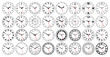 Round watch faces. Circle clock face with vintage Roman and Arabic numerals. Minutes, seconds and hours hands and scale marks on dial vector set