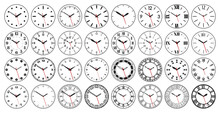 Round Watch Faces. Circle Cloc...