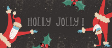 Funny Santa Clauses In Medical Face Mask And Latex Gloves Dancing In Various Poses . Holly Jolly Greeting Lettering.
