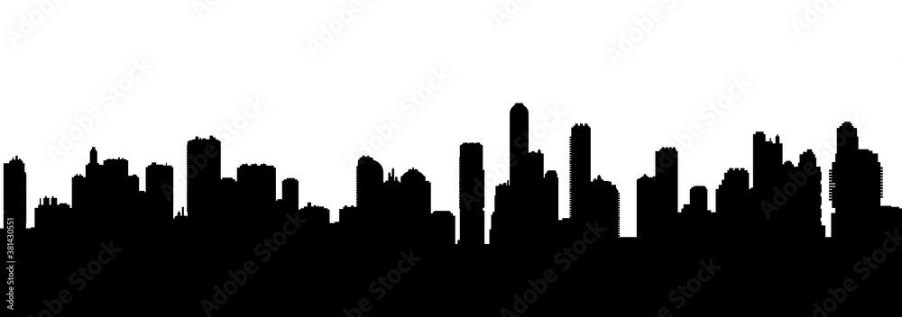 Fototapeta Seamless cyberpunk cityscape silhouette