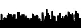 Fototapeta Miasto - Seamless cyberpunk cityscape silhouette