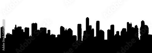 Fototapeta Seamless cyberpunk cityscape silhouette obraz