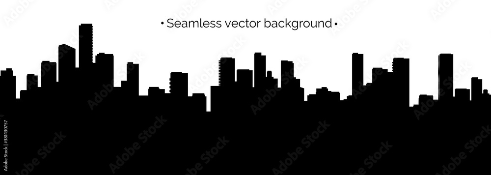 Seamless cyberpunk cityscape silhouette