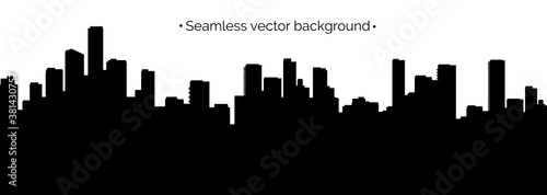 Fototapety, obrazy: Seamless cyberpunk cityscape silhouette