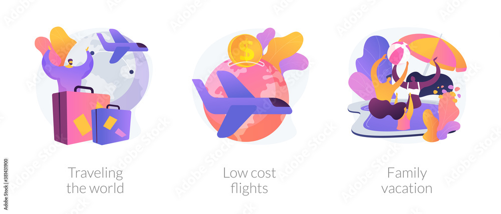 Fototapeta Summer recreation and adventure metaphors. Traveling the world, low cost flight, family vacation. Sea resort holiday. Cheap plane tickets. Vector isolated concept metaphor illustrations.