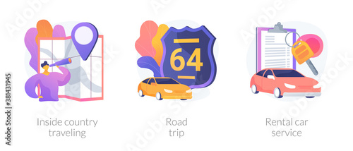Active holiday metaphors. Inside country travel, road trip, rental car service. Low cost journey. Weekend adventure. Renting transport. Vector isolated concept metaphor illustrations.