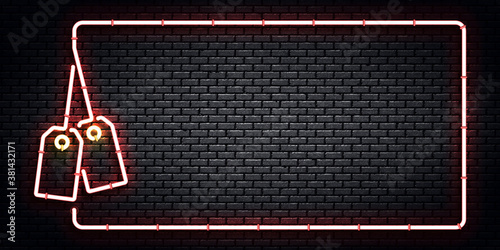 Vector realistic isolated neon sign of Price Tag frame logo for template decoration and invitation design.