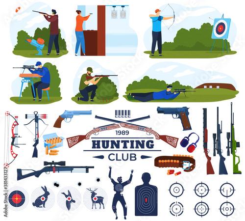 Tela Hunting club vector illustration set