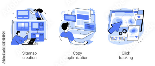 Website optimization abstract concept vector illustration set Fototapet