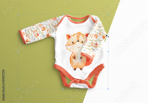 Fototapeta Baby Vest Long Sleeves 2 Mockup obraz