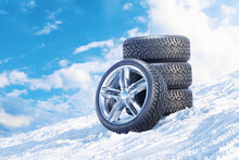 Car Wheels On A Snowy Mountain...