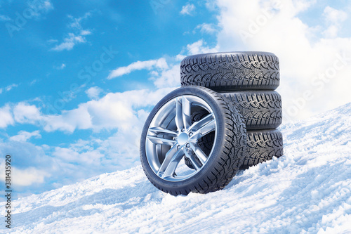 Car wheels on a snowy mountain slope 3D