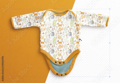 Fototapeta Baby Vest Long Sleeves Open Mockup obraz
