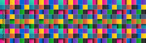 Fotografie, Tablou Colorful square abstract header with white lines