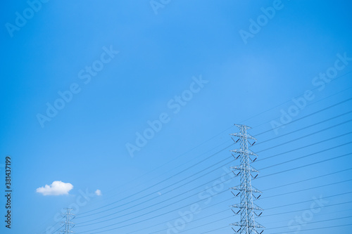 Tela blue clear sky and small cloud with high voltage electric pole
