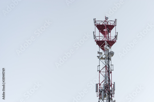 Fototapeta High telecommunication cell tower antenna with space for copy