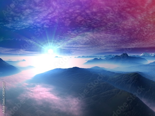 Beautiful mountain landscape with a  colorful sky #381442107