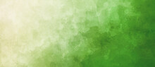 Green Watercolor Background With White Hazy Sky With Gradient Painted Texture And Grunge In Abstract Design, Christmas Green Backgrounds Or Paper Banner