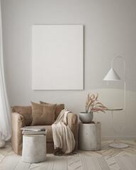 Fototapeta Boks mock up poster frame in modern interior background, living room, Scandinavian style, 3D render, 3D illustration