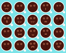 Set Of Cups With Coffee, Cacao, Hot Chocolate And Funny Cheerful Emoticons, Smiley And Emoji. Vector Illustration.