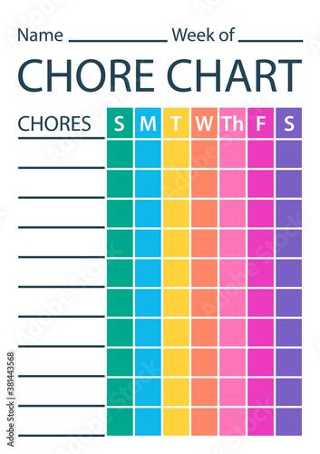 Murais de parede Chore chart colour template. Clipart image