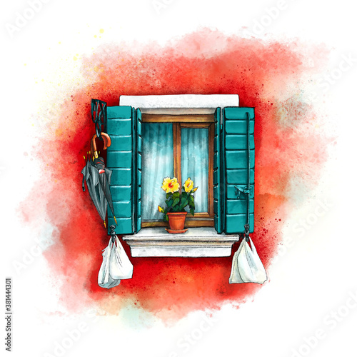 Fototapeta Window with green shutters and yellow flowers on red wall of houses on island Burano, Venice, Italy. Digital drawing as watercolor obraz