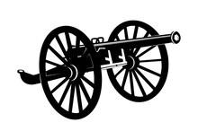 Obsolete Cannon. Silhouette Of An Old Cannon On Wooden Wheels. Flat Vector.